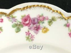 Set of 12 Frank Haviland Limoges Paris Pink & Yellow Swag 9 5/8 Dinner Plate