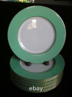 Set of 12 Lenox Dinner Plates Mint Green with Gold