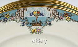Set of 12 Lenox Fountain 1920s Art Deco Jeweled Porcelain Dinner Plates 10-1/2