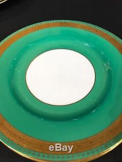 Set of 12 Minton Tatman Chicago Green & Gold Leaf Enameled Dinner Plates 10 1/2