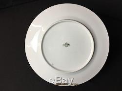 Set of 12 Rosenthal 10&3/4 Dinner Plates Turquoise Rim Scrollwork Green Gold