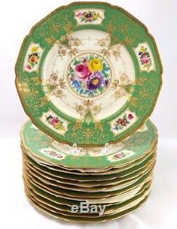 Set of 12 Vintage Black Knight Green Bohemia Dinner Plates 10.25