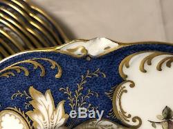 Set of 12 Vintage COALPORT Dinner Plates Blue & Gold New York mark Free Shipping