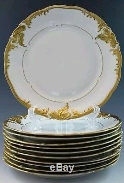 Set of 12 Vintage Walbrzych Wlb3 Dinner Plates 10.5 Gold encrusted Verge withblack