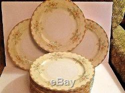 Set of 12 dinner plates by Meito China, hand painted
