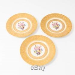 Set of 3 Royal Bavarian Hutschenreuther Gold Encrusted Flower Dinner Plates 11D