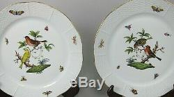 Set of 4 Herend Fine China ROTHSCHILD BIRD (RO) 10 Dinner Plates #524