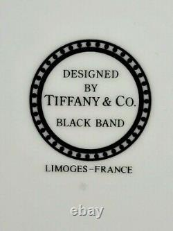 Set of 4 Tiffany & Co Limoges France DINNER PLATE Black Band Pattern 10 7/8