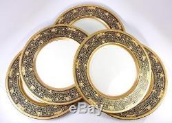 Set of 5 Stunning Lenox Raised Gold Enamel & Cobalt 10 3/8 Dinner Sized Plates