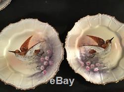 Set of (6) Antique B&H Limoges Artist Signed Baumy Reticulated Plates