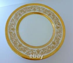 Set of 6 Antique Limoges Bernardaud Raised Gold Porcelain Dinner Plates