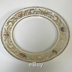 Set of 6 G. Ahrenfeldt Limoges porcelain Dinner Plates With Gold Flower Hand Paint