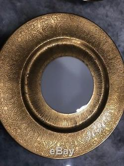 Set of 6 Heinrich & Co. Selb Bavaria 22k Gold Wide Encrusted Dinner Plates 11