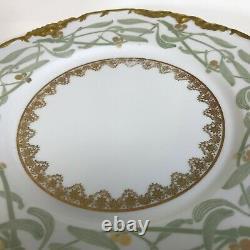 Set of 6 J. Pouyat Limoges Dinner Plates 9.75 Gilt Rim Bamboo Leaf Design