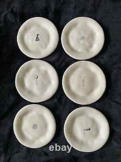Set of 6 RAE DUNN VINTAGE MAGENTA CELEBRATE PLATES! Super Dimply