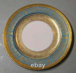 Set of 6 Shelley Blue and White Dinner Plate with Turquoise & Gold Encrusted Rim