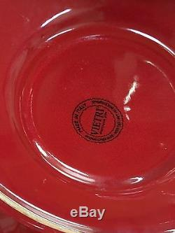 Set of 6 Vietri Italy Rosso Vecchio Red Dinner Plates
