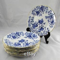 Set of 8 Antique Royal Worcester Cobalt Blue & White Dinner Plates 10 England