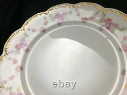 Set of 8 Frank Haviland Limoges Paris Pink & Yellow Swag 9 5/8 Dinner Plate