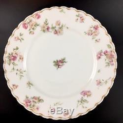 Set of 8 Haviland Limoges Double Gold Dinner Plates Pink Floral 39d