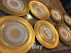 Set of 8 Heinrich & Co. Selb Bavaria Gold Encrusted Dinner Plates 11 Porcelain