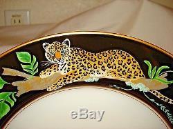 Set of 8 Lynn Chase Jaguar Jungle 11 Dinner Plates with 24K Gold trim