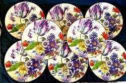 Set of 8 MACKENZIE-CHILDS 10 1/4 White Flower Market Enameled Dinner Plates New