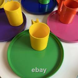 Set of 8 Massimo VIGNELLI HELLER 10 Melamine Dinner Plates Mugs Rainbow Picnic