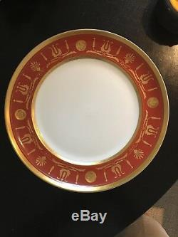 Set of 8 Vista Alegre EMPIRE RED orange Dinner Plates vintage great condition