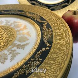 Set of 9 Hutschenreuther Gold Encrusted & Black Rim Dinner Plates