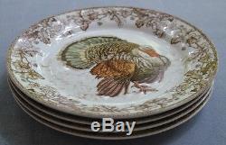 Set of FOUR Williams Sonoma Plymouth Turkey Dinner Plates Thanksgiving. NEW