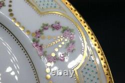 Set of Four George Jones & Sons Crescent China Raised Enamel Gold Dinner Plates