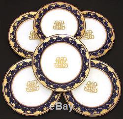 Set of Six Antique Minton 10 Dinner Plates, Cobalt & Thick Raised Gold Enamel