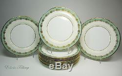 Set of Ten (10) Vintage AYNSLEY Nile Sage Green Dinner Plates 10.5 Mint