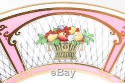 Set(s) 6 Dinner Plates Vintage Minton Bone China H3193 Pink Gold Fruit Basket