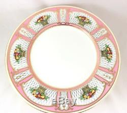 Set(s) 6 Dinner Plates Vintage Minton Bone China H3193 Pink Gold Fruit Basket