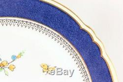 Set(s) 6 Hand Painted Dinner Plates Crown Staffordshire A15323 Cobalt Blue Gold
