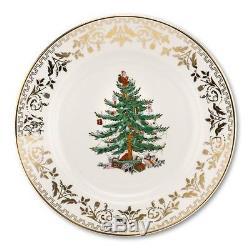 Spode Christmas Tree Gold Dinner Plate Set of 4, New