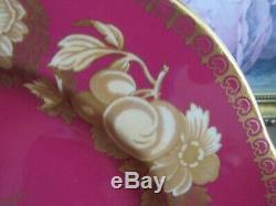 Spode Copeland's Y1125 Set Of 6 Dinner Plate Burgundy Red Gold Fruit Flowers