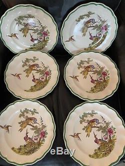 Spode Dinner Plates Set of 6 Peacock Bird Flowers Antique Copeland 739640 RARE