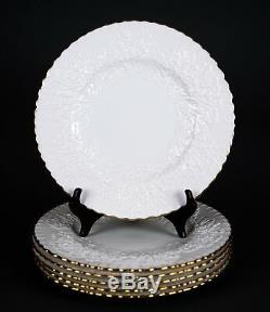 Spode Savoy White Gold Trim Dinner Plates, Set of (6), Embossed Cabbage Leaf