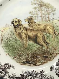 Spode Woodland Hunting Dogs Golden Retriever Dinner Plates Set of 4 New