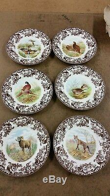 Spode Woodland set of 6 dinner plates includes big horn sheep, red fox and birds