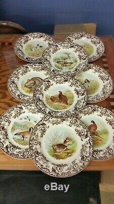 Spode Woodland set of NINE dinner plates including, Turkey, dogs and birds