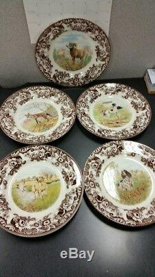 Spode woodland set of 5 dinner plates Includes 3 x Hunting dogs