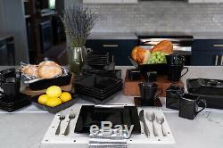 Square Banquet 45 Piece Porcelain Dinnerware Set Home Kitchen Dining Black