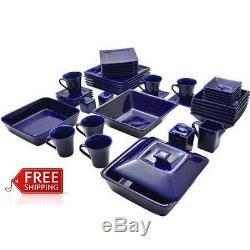 Square Dinner Plates Set Of 45 Blue Porcelain Formal Dining Microwavable Dish