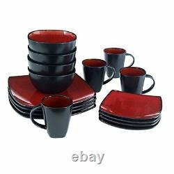 Square Dinnerware Set 16 Piece Dinner Plates Bowls Cups Kitchen Stoneware Dishes