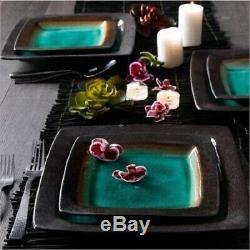 Square Dinnerware Set Dishes Bowl Mug Salad Dinner Plates Stoneware Table 16 Pc