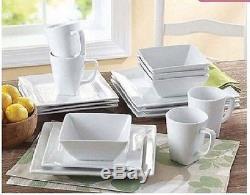 Square White Dinner Dishes Plates 32 Piece Porcelain Dinnerware Kitchen Set New